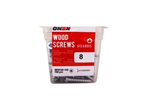 Pkg100, #8 FH Socket Steel Wood Screws