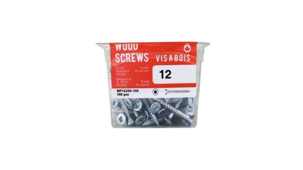 Pkg100, #12 FH Socket Steel Wood Screws