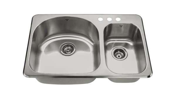 OD3120-97-3H, Double Bowl, Uneven Bowl, 3 Hole, Drop-In, Kitchen Sink, Onex Enterprises