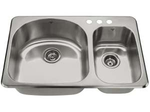 OD3120-97-3H, Double Bowl, Uneven Bowl, 3 Hole, Drop-In, Kitchen Sink, Onex Enterprises