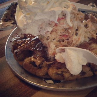 Chocolate Chip Waffle with ice cream, nutella, and whipped mashmallow. Because Carly and I like to treat ourselves occasionally. Maybe too often.
