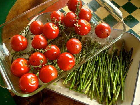 Tomatoes and Asparagus prepped for roasting