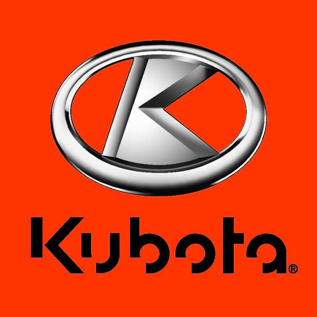 Large square Kubota logo with a silver ring encompassing a silver letter K in the middle.