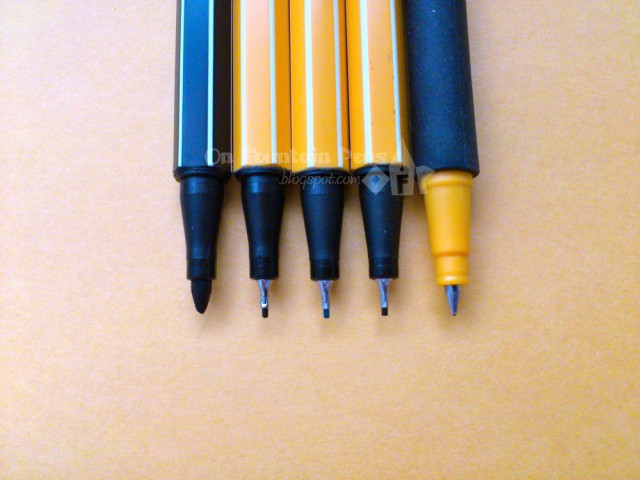 Left-right: Stabilo Pen 68, Stabilo point 88 black, green and brown, Stabilo pointVisco