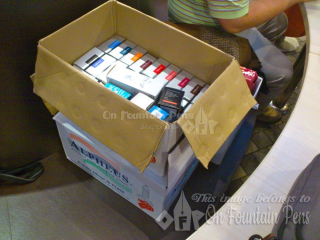 Imagine our joy when Sunny brought in two cartons of pens and ink!