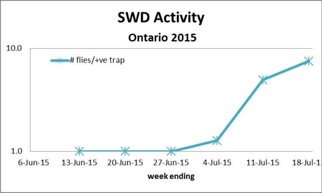 Figure 2: SWD # flies per positive trap