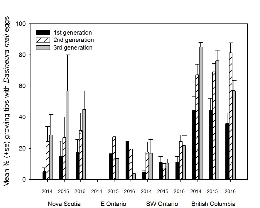 Bar graph showing mean percent growing tips with leafcurling midge eggs for 1st, 2nd and 3rd generations from populations collected in Nova Scotia, Eastern Ontario, Southwestern Ontario and British Columbia from 2014-2016. In Nova Scotia and British Columbia, growing tips with eggs increased with generation in a year. In Ontario, 1st and 2nd generation generally had more eggs on growing tip than 3rd generation.
