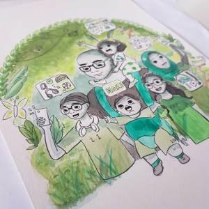 Ong Lai Art - Custom Illustration - Original Artwork - Family Portrait and Birthday Gift - Yati Closeup 2