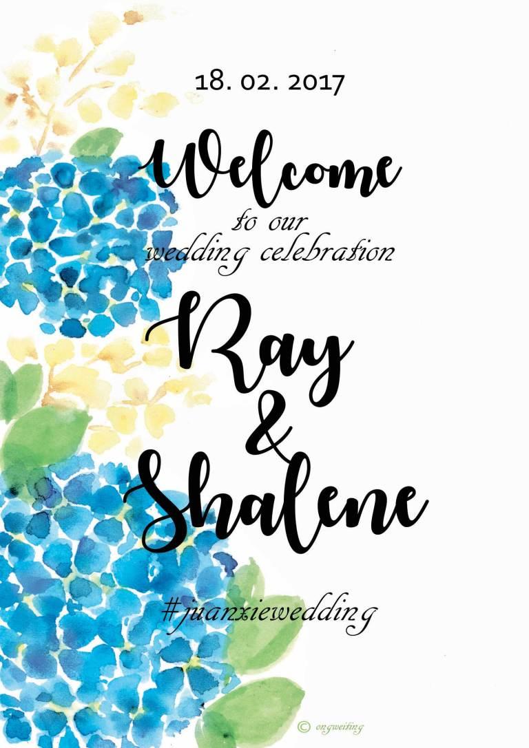 Custom Wedding Welcome Board - Blue Hydrangeas