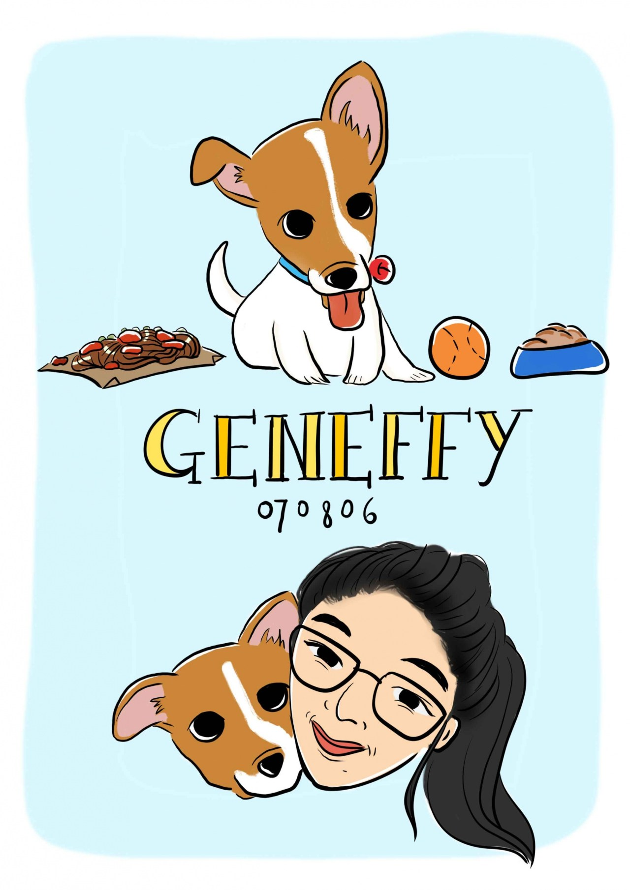 Illustration - Pet dog Geneffy - digital art