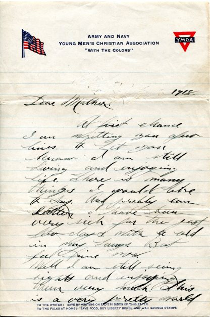 Letter from Pvt A.L. Gooch to his family, 1918, p1