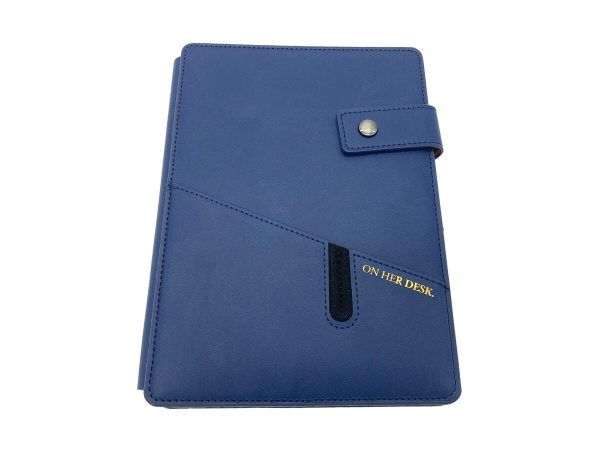 A5 covered notebook navy blue front cover