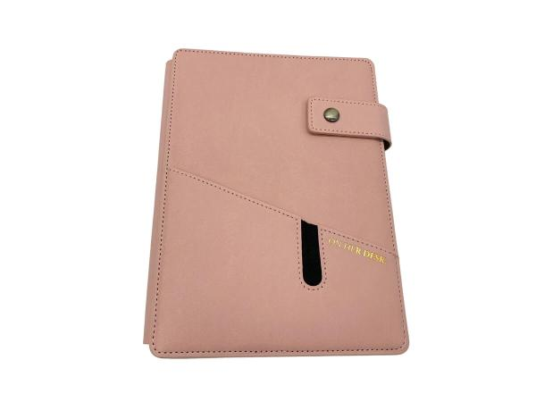 A5 covered notebook pink with monogramming