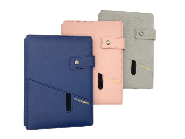 A5 covered notebook in pink grey and navy blue
