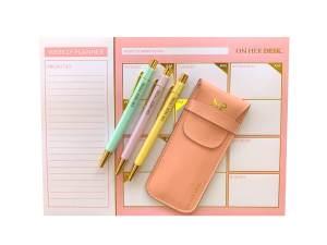 desk planner gift set in pink
