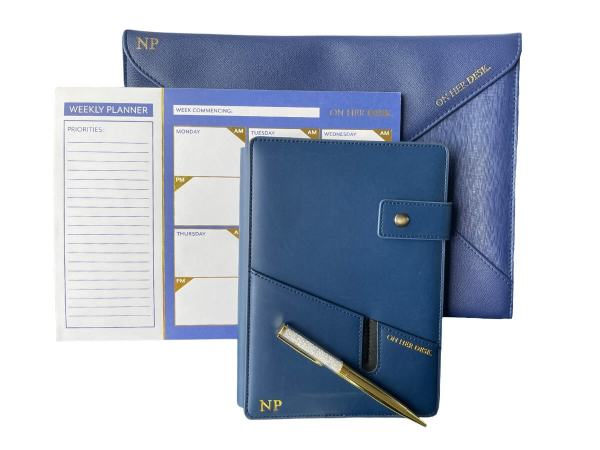 signature collection stationery bundle in navy blue