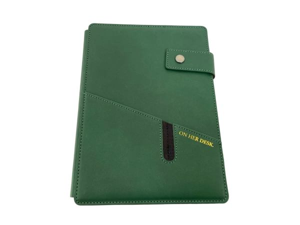 A5 Covered Notebook in Forest Green colour - front view