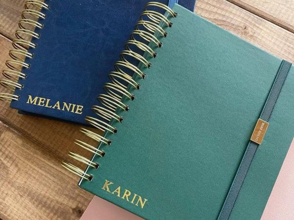 personalised A5 Spiral Notebook with monogramming