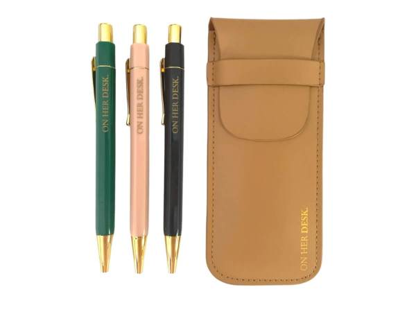 Pen set including three gold clasp pens in a tan coloured pouch