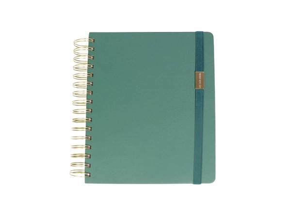 A5 Spiral Notebook for women in forest green
