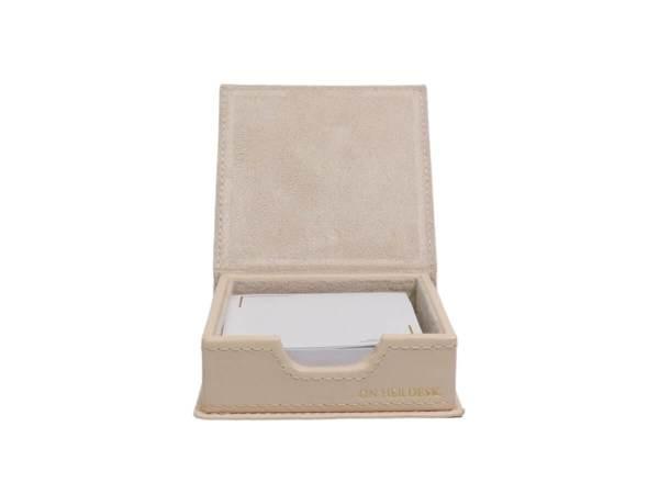 Sticky note holder in cream inside
