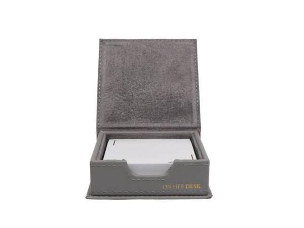 Sticky note holder in grey inside