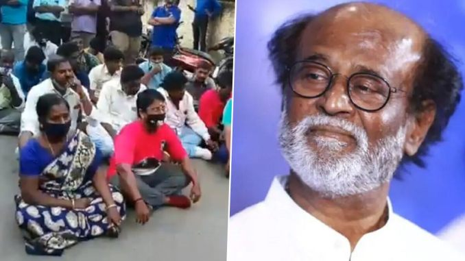Rajinikanth Fans Disappointed With Thalaivar's Decision To Not Join Politics, Stage Protest Outside Actor's Chennai Residence (Watch Video)