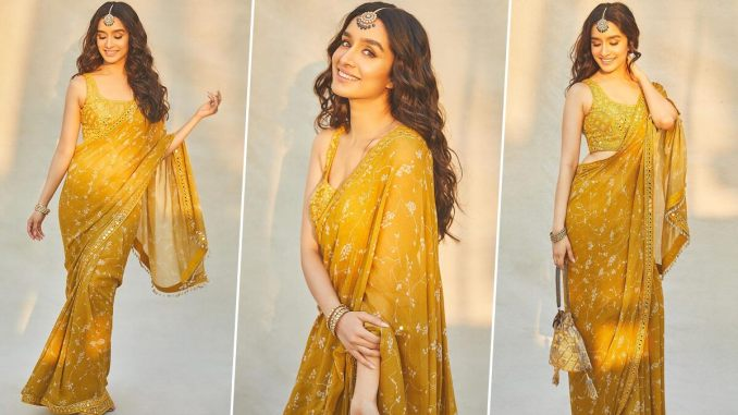Shraddha Kapoor Is Gleaming With Joy As She Dresses Up in a Mustard Embroidered Saree (View Pics)