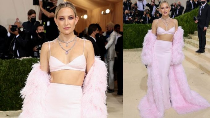 Kate Hudson Stuns in Pink Sequin Bralette With Matching Maxi Skirt by Michael Kors at Met Gala 2021