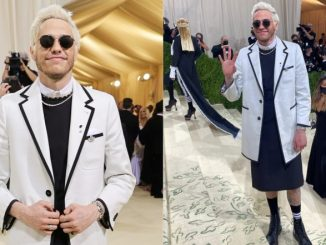 Pete Davidson Wears Kilt With Longline Thom Browne Suit and Combat Boots to Met Gala 2021