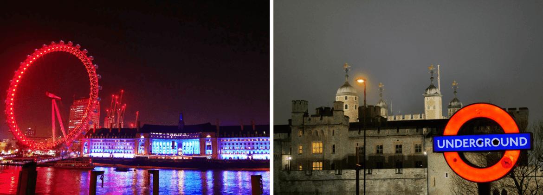 Tour de Londres et London Eye de nuit