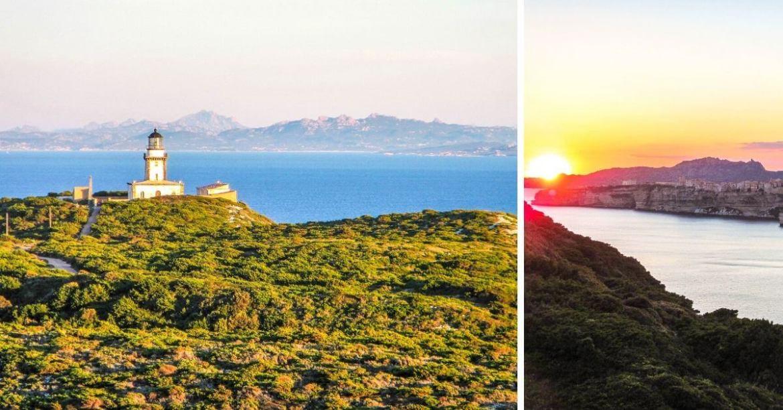 Phare de Pertusato et coucher de soleil sur Bonifacio