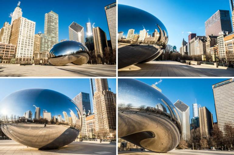 Plusieurs vues du Bean Chicago