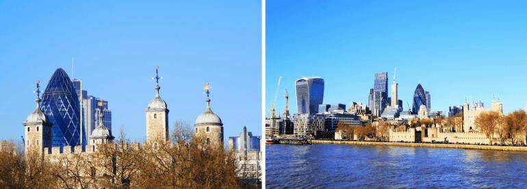 Quartier la City Londres vu depuis la Tamise