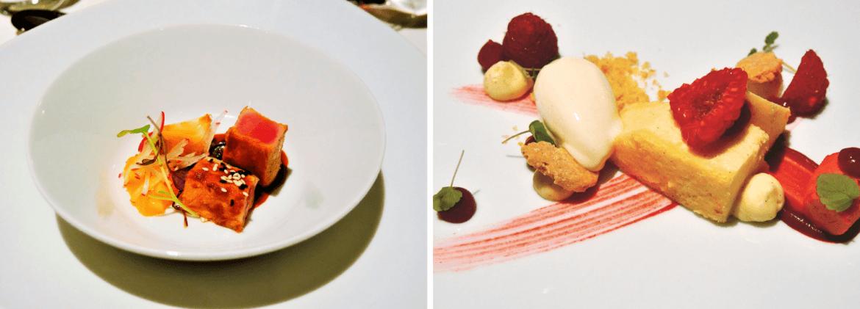 Les plats du Spettacolo pour un souper romantique au Lenkerhof
