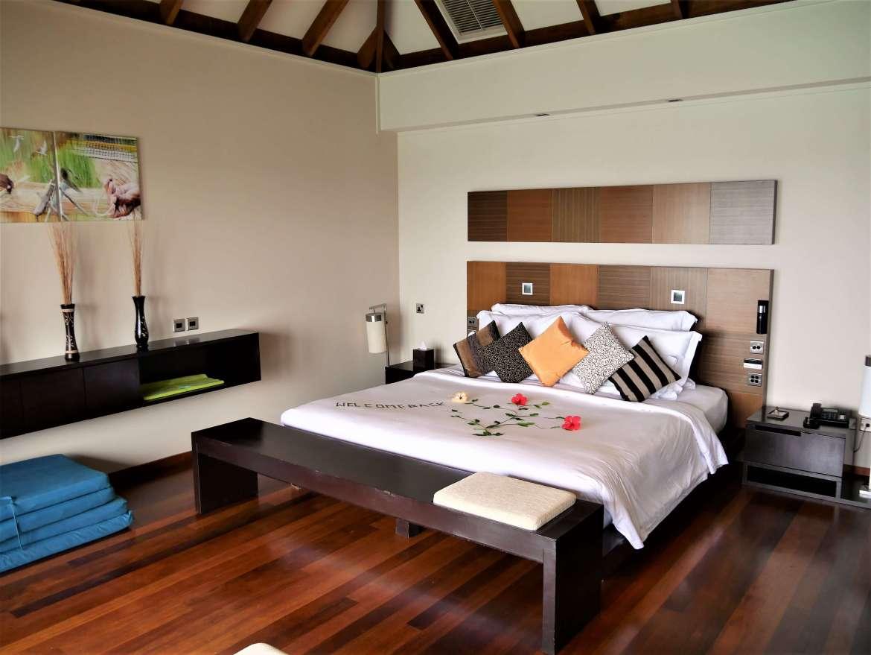 Notre chambre du bungalow sur pilotis Veligandu
