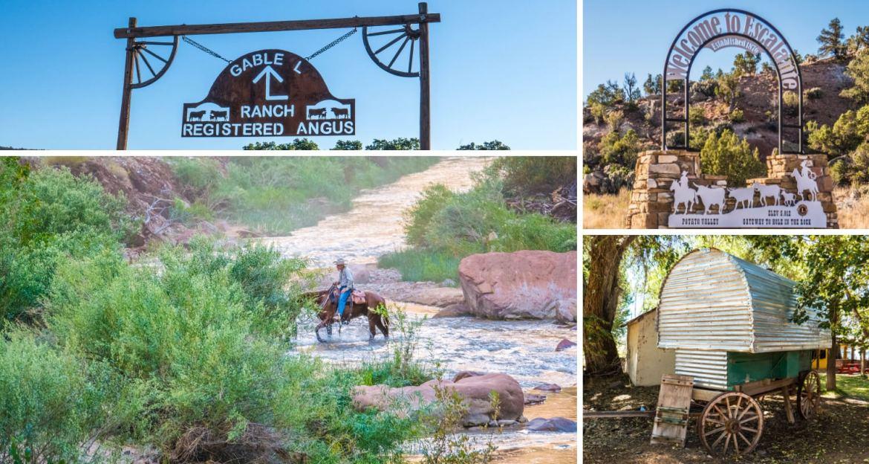 Enseigne de ranch, cowboy et roulotte de pionnier dans l'Utah