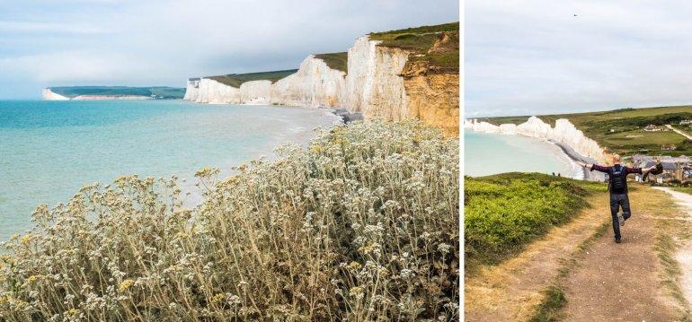 Vue sur les Seven Sisters falaises du Sussex Angleterre