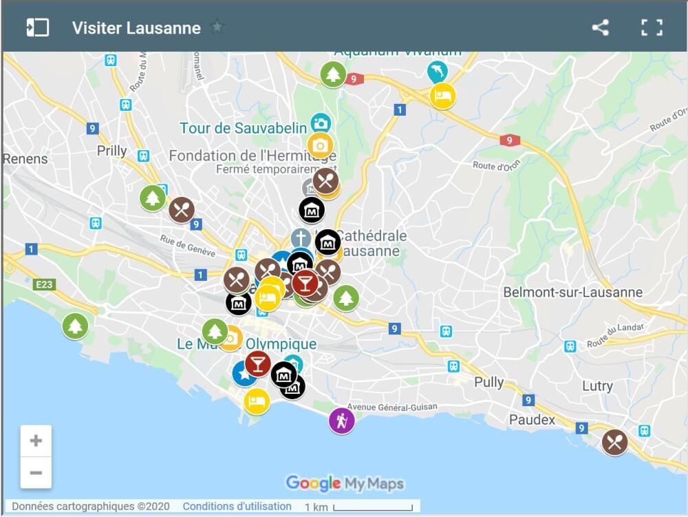Carte Visiter Lausanne