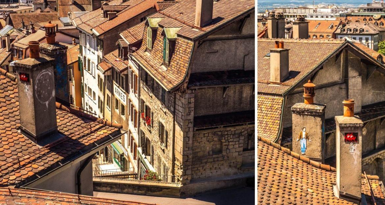 Vue sur Lausanne historique depuis la Place de la Cathédrale