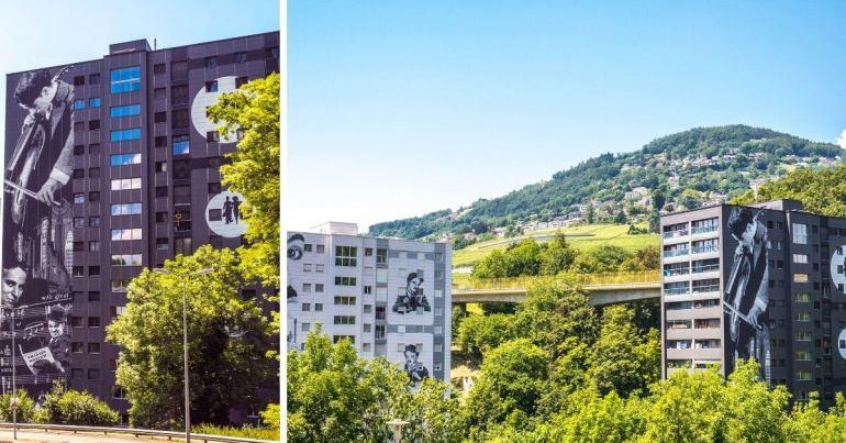 Immeubles fresques Chaplin à Vevey