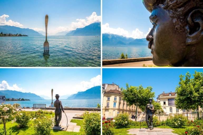 Statues Fourchette et Chaplin Quai Perdonnet Vevey