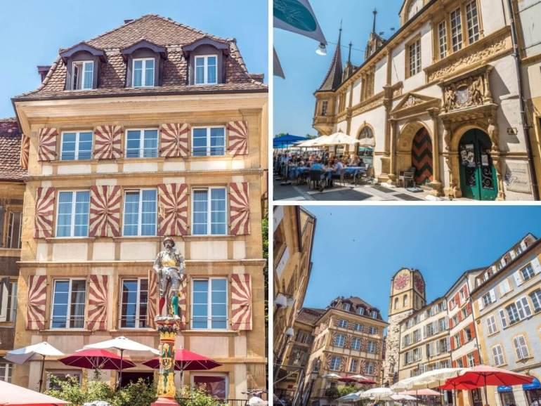 Croix du Marché et Maison des Halles visiter Neuchâtel