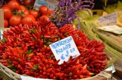 Spectacular chilli bundles at Venice's Rialto food market.