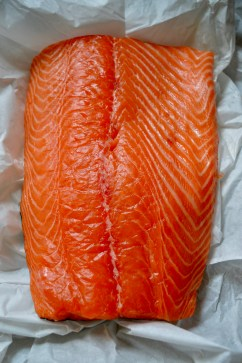 Salmon fillet for bourbon and coriander seed gravadlax - recipe for Borough Market: http://boroughmarket.org.uk/recipes/bourbon-coriander-seed-gravadlax