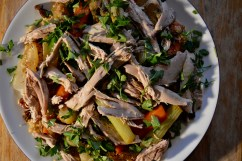 Pulled pot-roasted pheasant with vegetable couscous - recipe for the Borough Market Cookbook Club members.