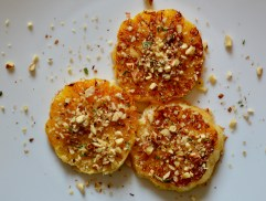 Warm oranges with toasted cobnut and rosemary crumb - recipe for the Borough Market Cookbook Club members.