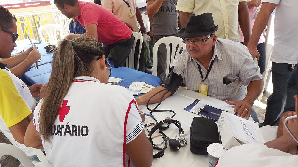 O motorista José Carlos mesmo de férias foi participar da Feira
