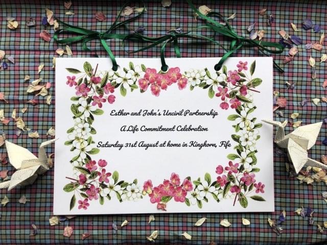Onie Tibbitt, Edinburgh Celebrant, creates beautiful keepsake ceremony cards for the families she works with.