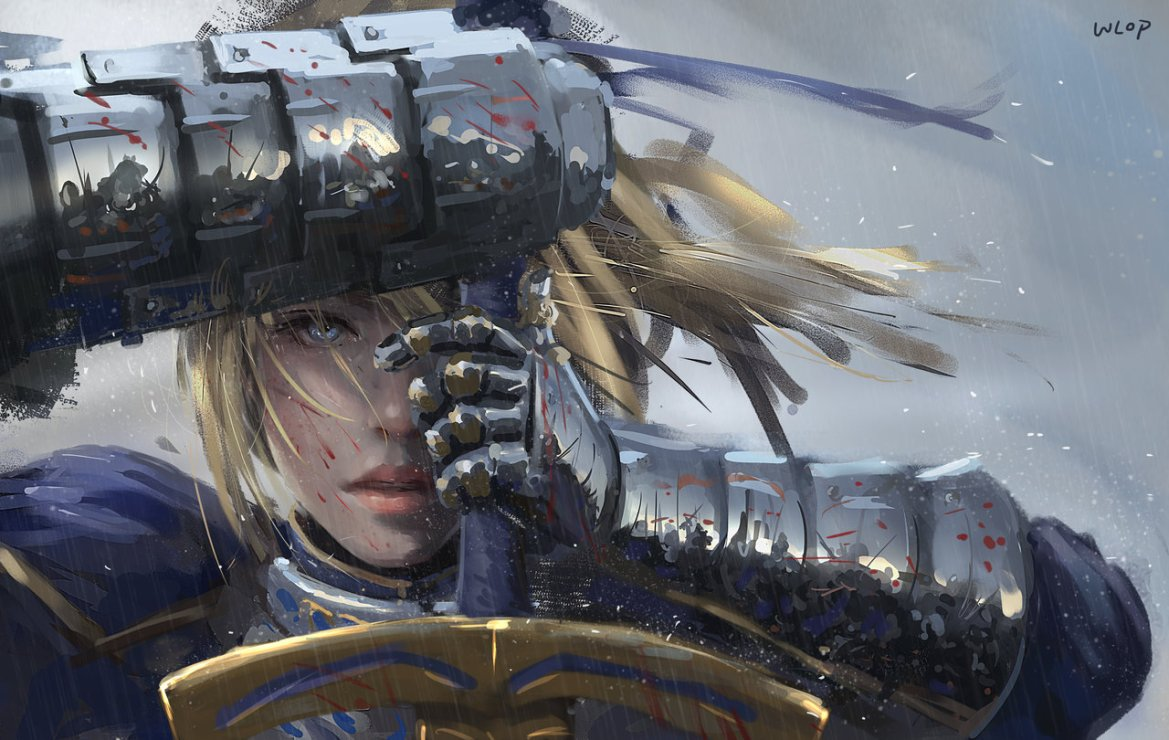 Konachan.com – 200649 armor blonde_hair blood blue_eyes fate_stay_night rain realistic saber signed sword water weapon wlop